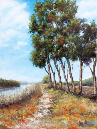 Fine Art - By the River - Original Oil Painting on HDF by artist Darko Topalski