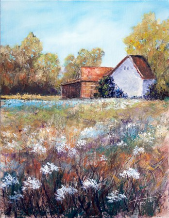 Fine Art - Farm House - Original Oil Painting on HDF by artist Darko Topalski