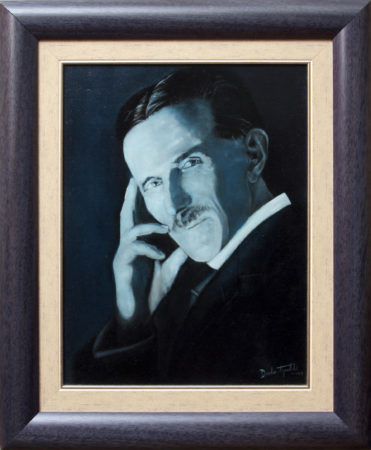 Fine Art - Nikola Tesla - Blue Portrait - Framed 55x45cm - Original Oil Painting on Canvas by artist Darko Topalski