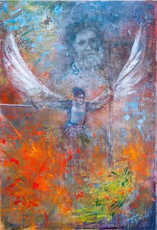 Fine Art - Protector - Original Oil Painting on HDF by artist Darko Topalski