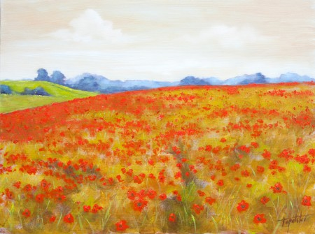 Fine Art - Red Poppy Field - Original Oil Painting on HDF by artist Darko Topalski