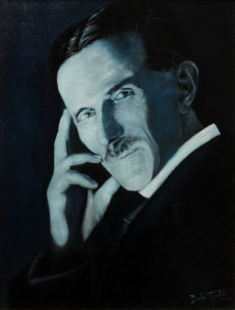Fine Art - Nikola Tesla - Blue Portrait - Original Oil Painting on Canvas by artist Darko Topalski