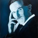 Nikola Tesla – Blue Portrait Oil Painting