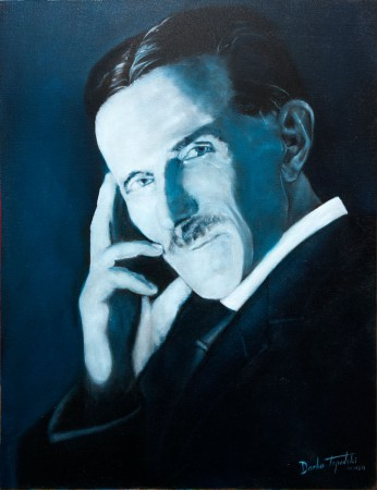 Fine Art - Nikola Tesla - Blue Portrait - Original Oil Painting on Canvas by artist Darko Topalski
