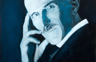 Nikola Tesla – Blue Portrait – Oil Painting
