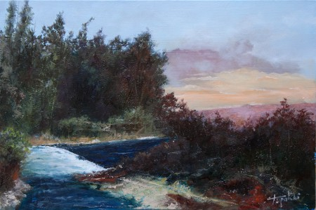 Fine Art - River Stream - Original Oil Painting on HDF by artist Darko Topalski