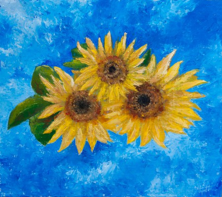 Fine Art - SunFlowers - Original Oil Painting on HDF by artist Darko Topalski