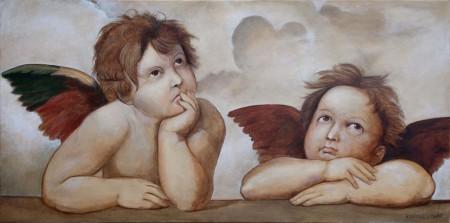 Raphael's Angels - Fine art Oil Painting on Canvas by artist Darko Topalski