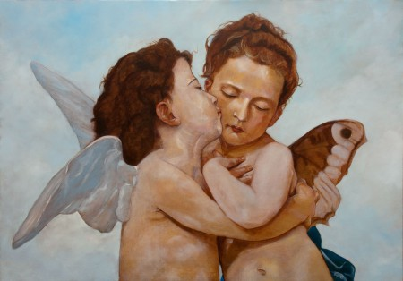 Fine Art -  Angels-The First Kiss-Amor et Psyche - Original Oil Painting on Canvas by artist Darko Topalski