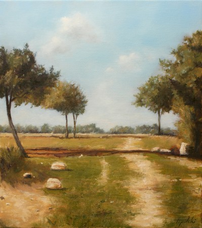 Fine Art - Country Road with Trees - Original Oil Painting on Canvas by artist Darko Topalski