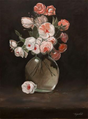 Flowers in a Vase- Original Oil Painting on HDF by artist Darko Topalski