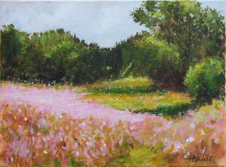 Fine Art -  Pink Landscape Flowers - Original Acrylics and Oil Painting on Canvas by artist Darko Topalski