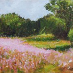Pink Landscape Flowers – Oil Painting