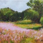 Pink Landscape Flowers – Oil Painting