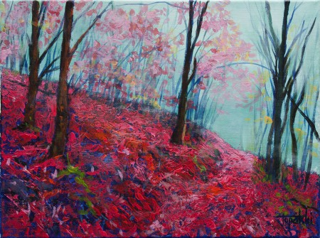 Fine Art -  Purple Forest - Original Acrylics and Oil Painting on Canvas by artist Darko Topalski