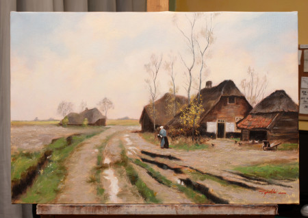 Fine Art - An Old Farm - Original Oil Painting on Canvas by artist Darko Topalski