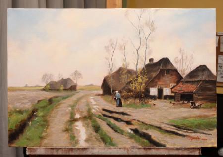 Fine Art - An Old Farm - Original Oil Painting on Canvas by artist Darko Topalski