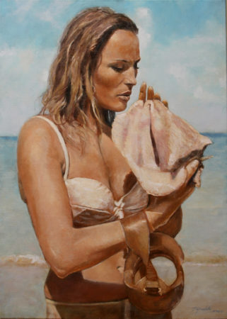 Fine Art - By the seaside-Ursula 007 Bond girl- female - Original Figurative Oil Painting on Canvas by artist Darko Topalski