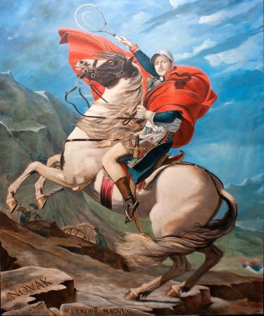 Fine Art - Novak Djokovic – Nole Crossing the Alps (Nole at the Saint-Bernard Pass or Nole on Alps) - Original Oil Painting on Canvas by artist Darko Topalski