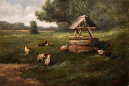 Fine Art - At the Well - Original Oil Painting on Canvas by artist Darko Topalski