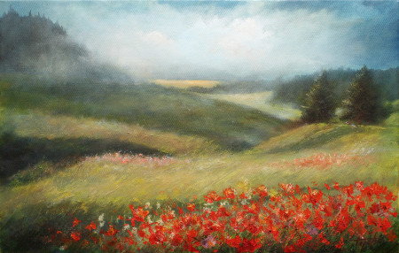 Misty Mountains with poppies- Original Oil Painting on Canvas by artist Darko Topalski