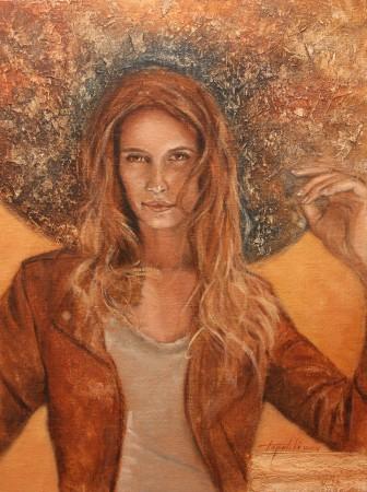 Fine Art - She - Original Oil Painting on Plywood Canvas Board by artist Darko Topalski