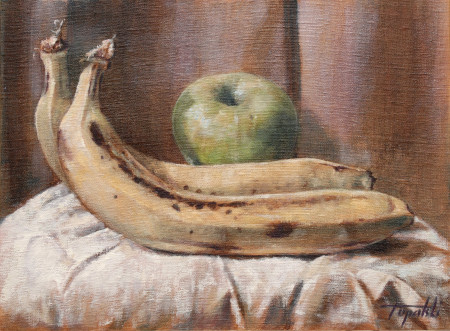 Fine Art - Apple and Bananas - Original Oil Painting on Canvas by artist Darko Topalski