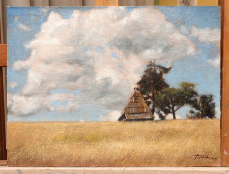 Fine Art - Cottage at the mountain top - Original Oil Painting on Plywood canvas board by artist Darko Topalski