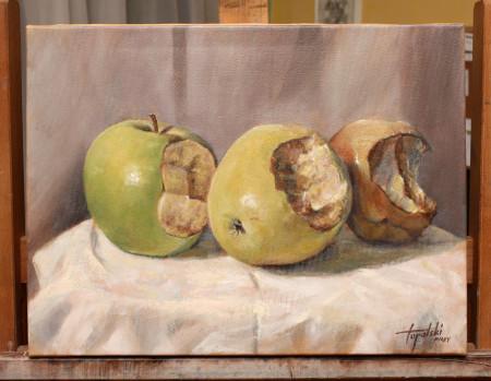 I-Painting Apple - Original Oil Painting on Canvas by artist Darko Topalski
