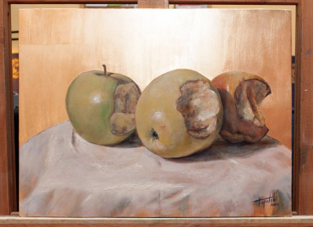 I-Painting Apple - Original Oil Painting on Canvas with Imitation Gold Leaf by artist Darko Topalski