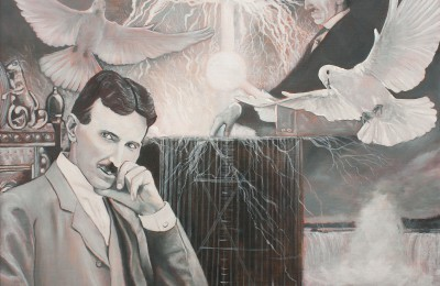 Nikola & Tesla – Oil Painting
