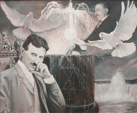 Nikola & Tesla - Oil Painting on Canvas by artist Darko Topalski