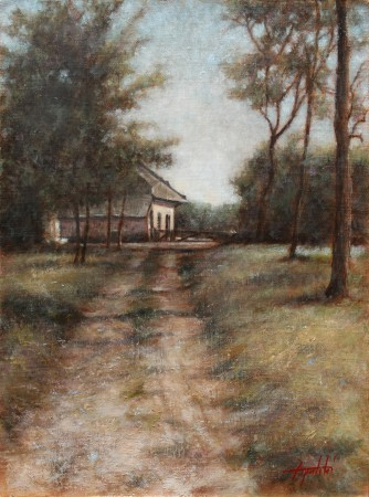 Old Farm - Original Oil Painting on Plywood Canvas Board by artist Darko Topalski