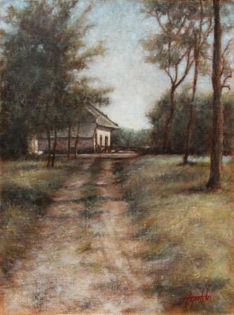 Old Farm - Original Oil Painting on Plywood Canvas Board by artist Darko Topalski