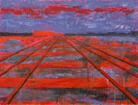 RailRoad into the Dusk - Original Oil Painting on HDF by artist Darko Topalski