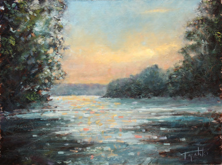 Fine Art - Discovering River - Original Oil Painting on HDF by artist Darko Topalski