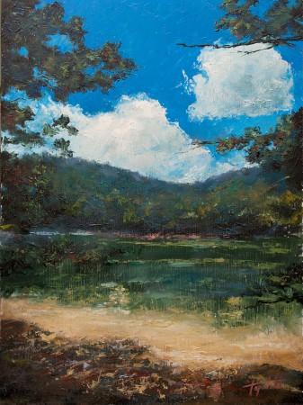 Fine Art - Mountain Lake - Original Oil Painting on HDF by artist Darko Topalski