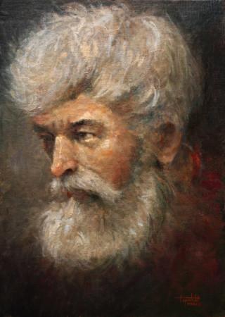 Fine Art - Portrait of an Old Man - Original Oil Painting on Plywood canvas board by artist Darko Topalski