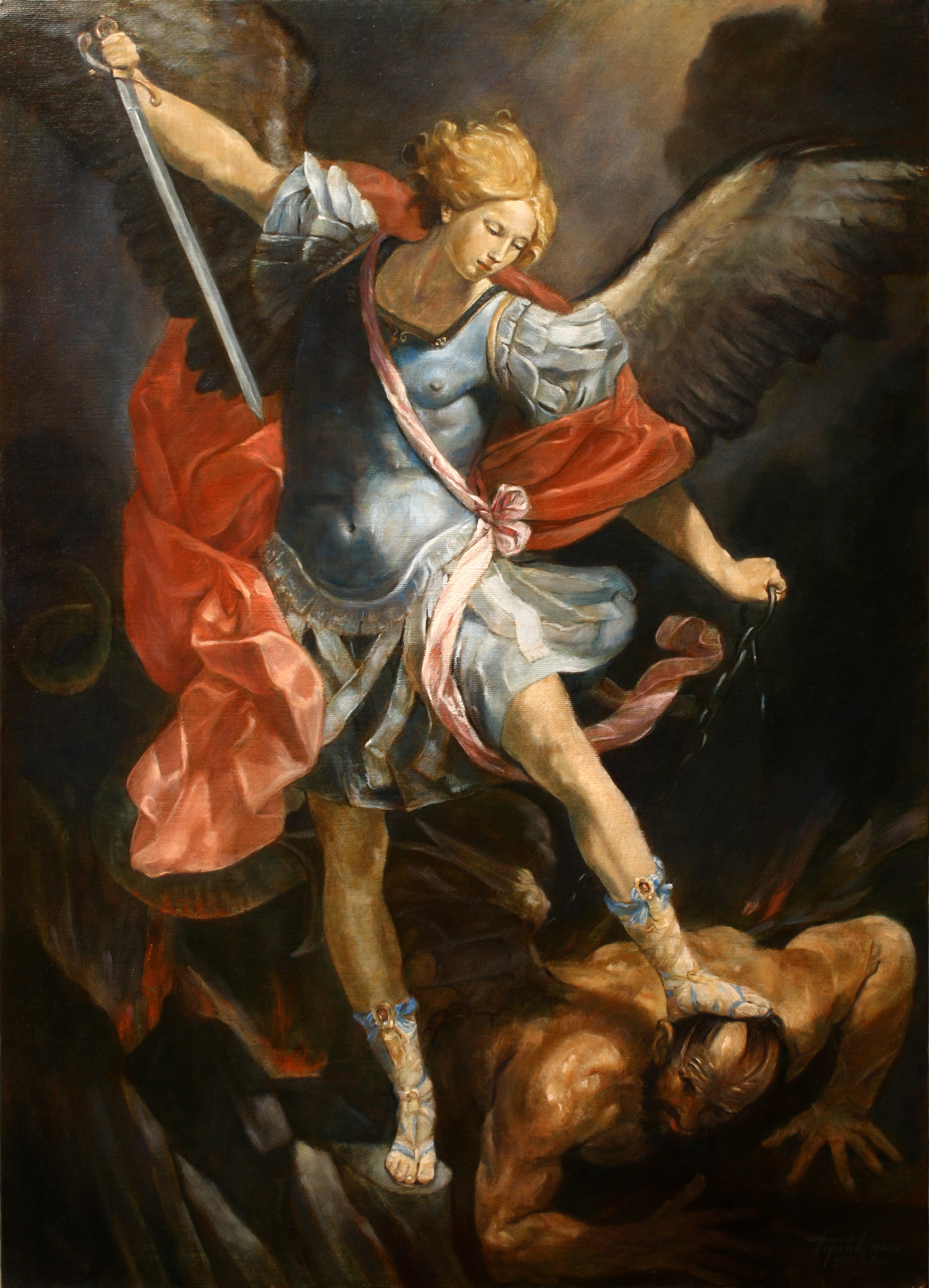 Antique Saint Michael Painting For Sale