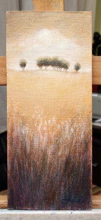 Fine Art - Distant Trees 3 - Original Landscape oil Painting on HDF by artist Darko Topalski