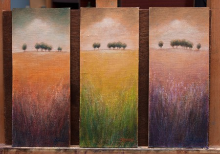 Fine Art - Distant Trees - 3ptich - Original Oil Painting on HDF Canvas board by artist Darko Topalski