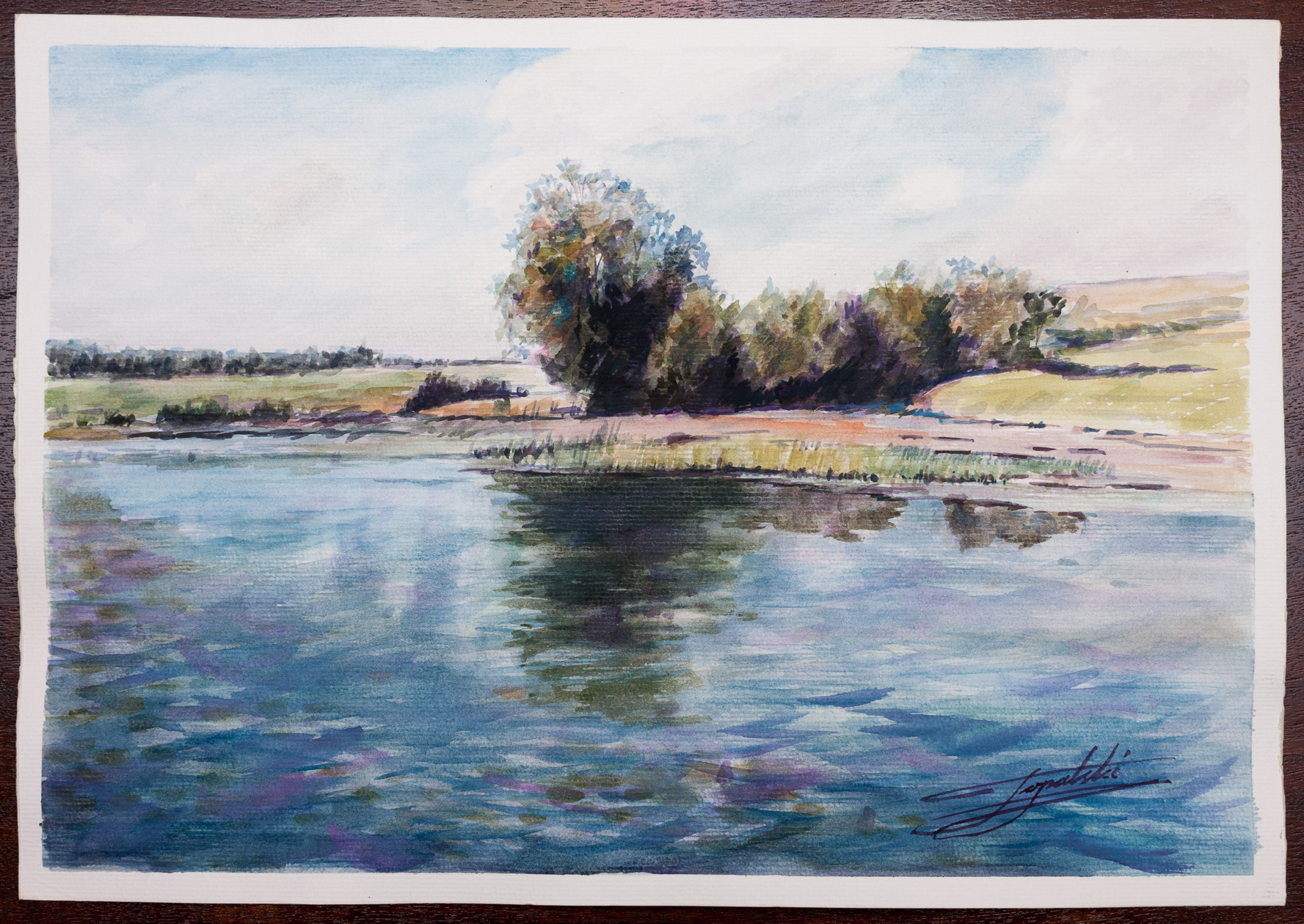 Lake scene watercolor painting fine arts gallery for Watercolor art prints for sale