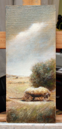Fine Art - Haystack Wagon - Original Landscape oil Painting on HDF canvas board by artist Darko Topalski