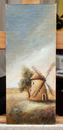 Fine Art - Windmill in a plain - Original Landscape oil Painting on HDF by artist Darko Topalski