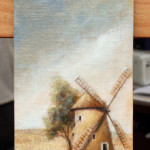 Windmill in a plain – Oil Painting