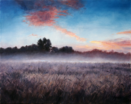Fine Art - Misty Morning - Original Oil Painting on Canvas by artist Darko Topalski