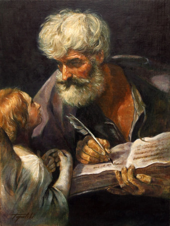 Fine Art - Saint Matthew the Apostle with Angel after Guido Reni - Original Oil Painting on Canvas by artist Darko Topalski