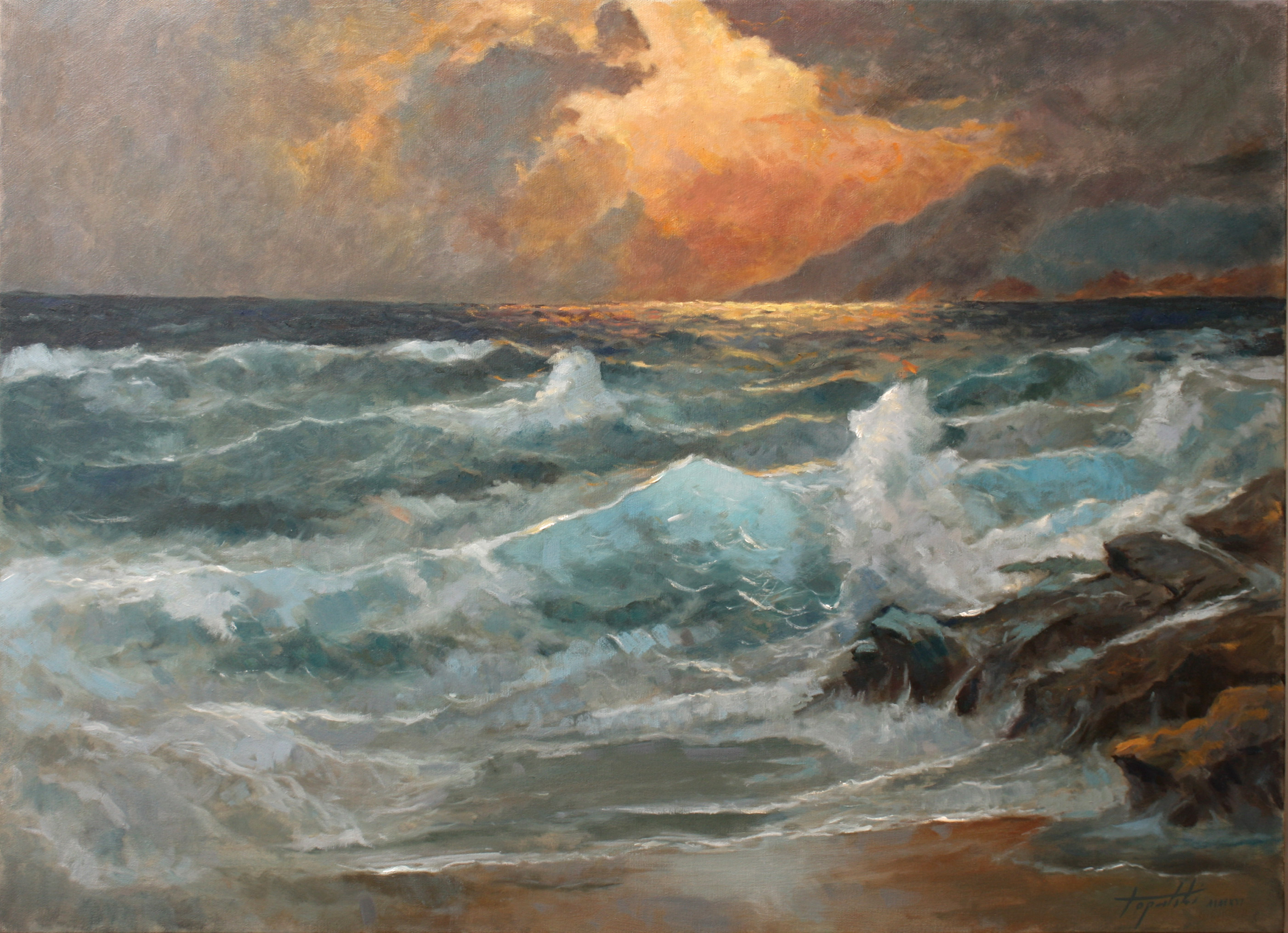 Eventide sea and waves oil painting fine arts gallery for Fine art paintings for sale online