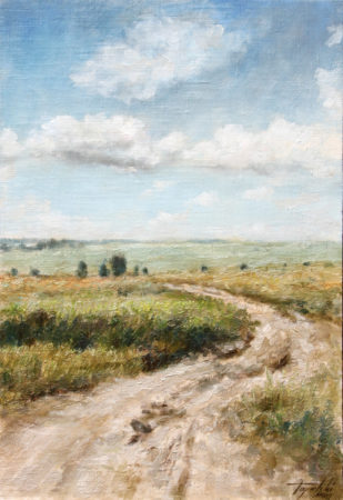 Fine Art - Country Road- Original Oil Original Painting artwork on Canvas by artist Darko Topalski gallery arts
