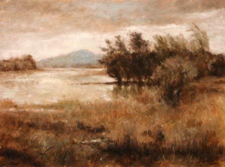 Fine Art - Distant Mountains- Original Oil Original Painting artwork on Canvas by artist Darko Topalski gallery arts